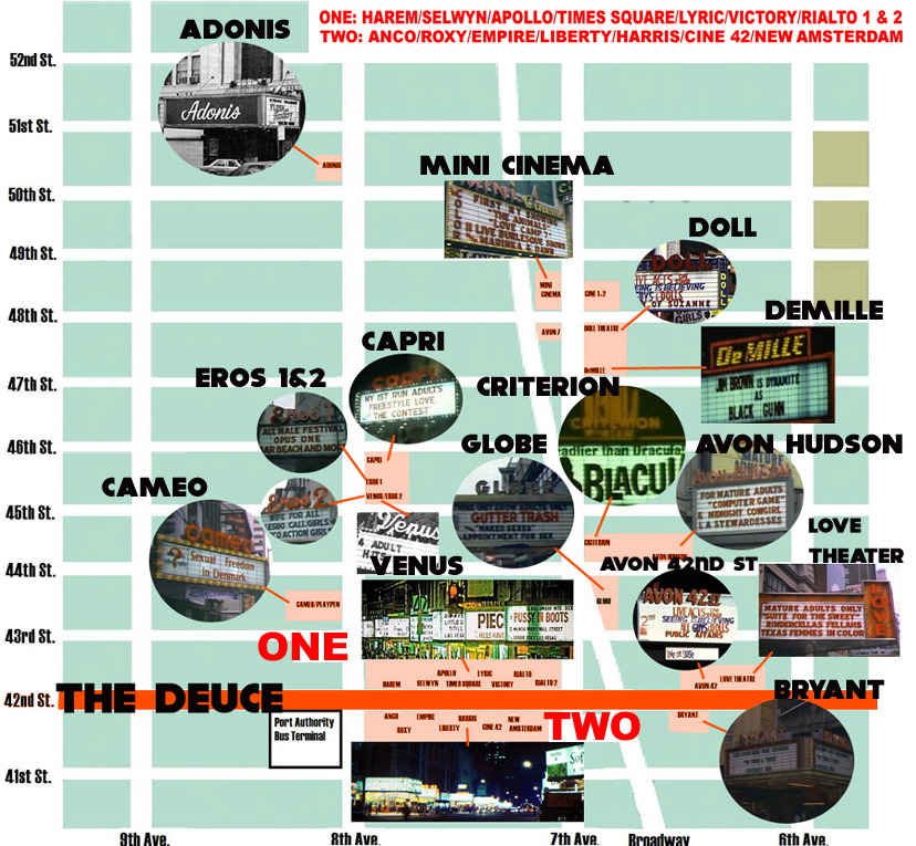 The Deuce Theater Map - The Grindhouse Cinema Database on central park map, grand central map, chinatown map, state fair map, memphis map, new york public library map, streets of new york city map, soho map, san francisco map, sugar map, times square map, fargo map,