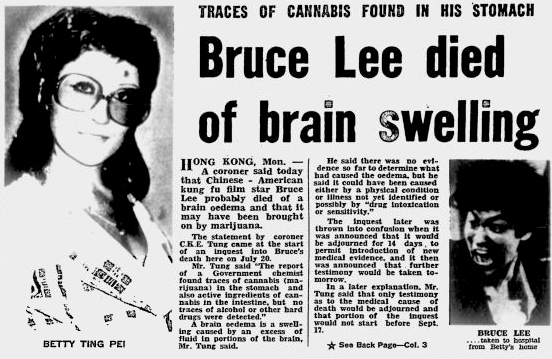 the story of bruce lee as described in the book bruce lee they died too young Let me pick one glaring falsehood in the story to illustrate my point: your reporter writes that bruce died because of taking too much aspirin besides being false, the tone of the statement smacks of sarcasm and disbelief.
